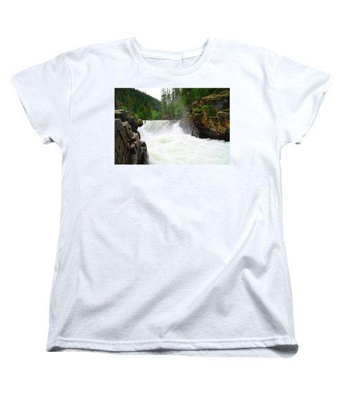Yaak Falls Women's T-Shirt (Standard Cut) by Jeff Swan