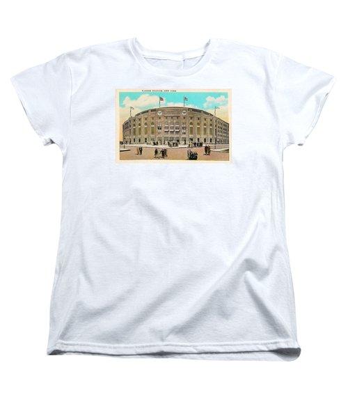 Yankee Stadium Postcard Women's T-Shirt (Standard Cut) by Digital Reproductions