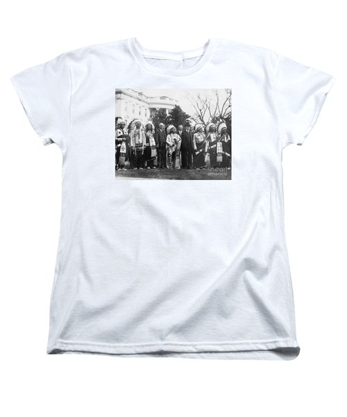 Coolidge With Native Americans Women's T-Shirt (Standard Cut) by Photo Researchers