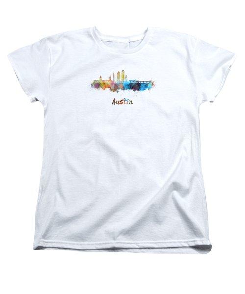 Austin Skyline In Watercolor Women's T-Shirt (Standard Cut) by Pablo Romero