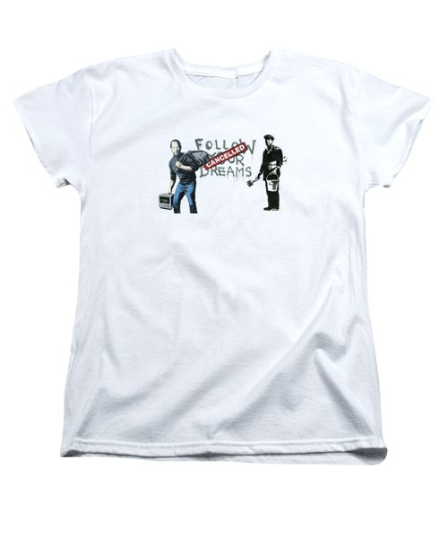 Banksy - The Tribute - Follow Your Dreams - Steve Jobs Women's T-Shirt (Standard Cut) by Serge Averbukh