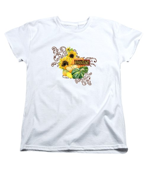 Celebrate Abundance - Harvest Fall Pumpkins Squash N Sunflowers Women's T-Shirt (Standard Cut) by Audrey Jeanne Roberts