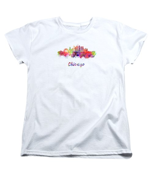 Chicago Skyline In Watercolor Women's T-Shirt (Standard Cut) by Pablo Romero