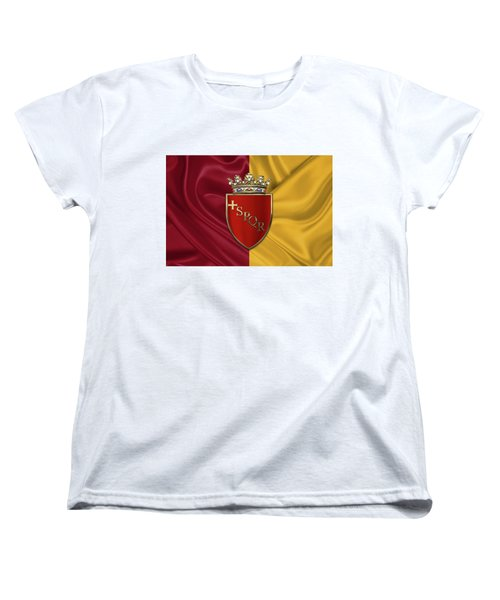 Coat Of Arms Of Rome Over Flag Of Rome Women's T-Shirt (Standard Cut) by Serge Averbukh