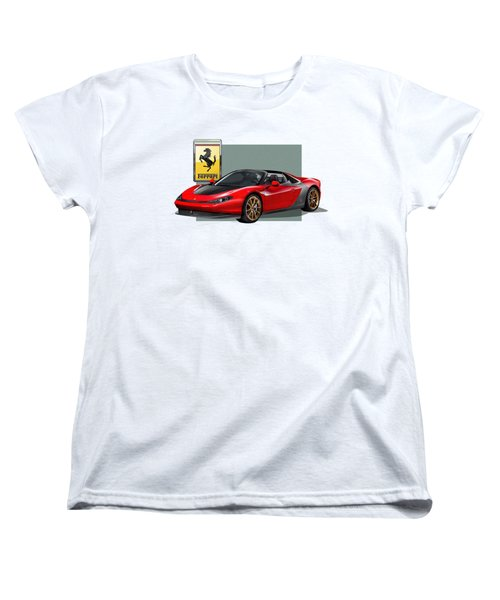 Ferrari Sergio With 3d Badge  Women's T-Shirt (Standard Cut) by Serge Averbukh