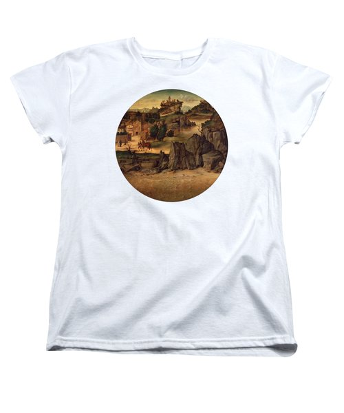 Landscape With Castles Women's T-Shirt (Standard Cut) by Bartolomeo Montagna