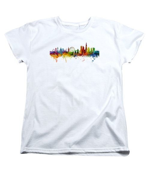 London England Skyline Panoramic Women's T-Shirt (Standard Cut) by Michael Tompsett