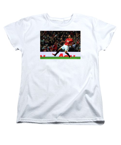 Manchester United's Zlatan Ibrahimovic Celebrates Women's T-Shirt (Standard Cut) by Don Kuing