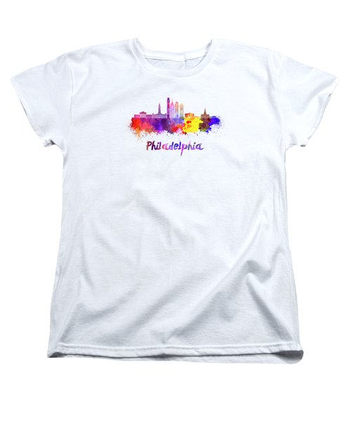 Philadelphia Skyline In Watercolor Women's T-Shirt (Standard Cut) by Pablo Romero