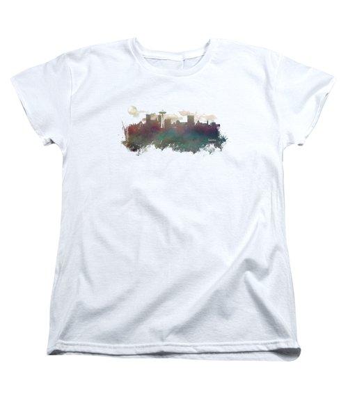 Seattle Washington Skyline Women's T-Shirt (Standard Cut) by Justyna JBJart