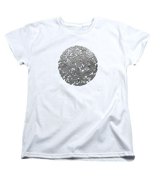 Sliver Chinese Dragon On White Leather Women's T-Shirt (Standard Cut) by Serge Averbukh
