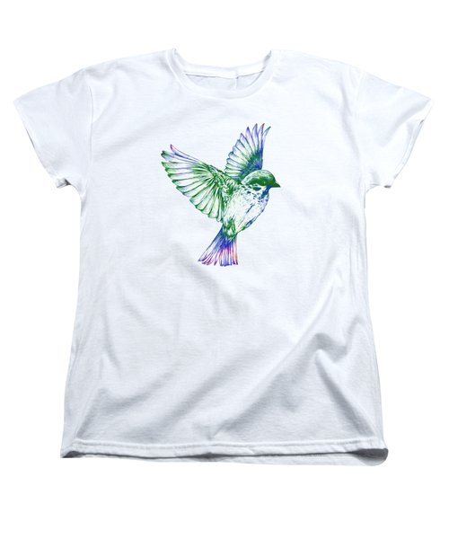 Textured Bird With Changeable Background Color Women's T-Shirt (Standard Cut) by Sebastien Coell