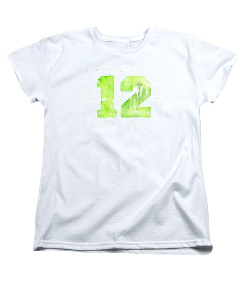12th Man Seahawks Art Go Hawks Women's T-Shirt (Standard Cut) by Olga Shvartsur