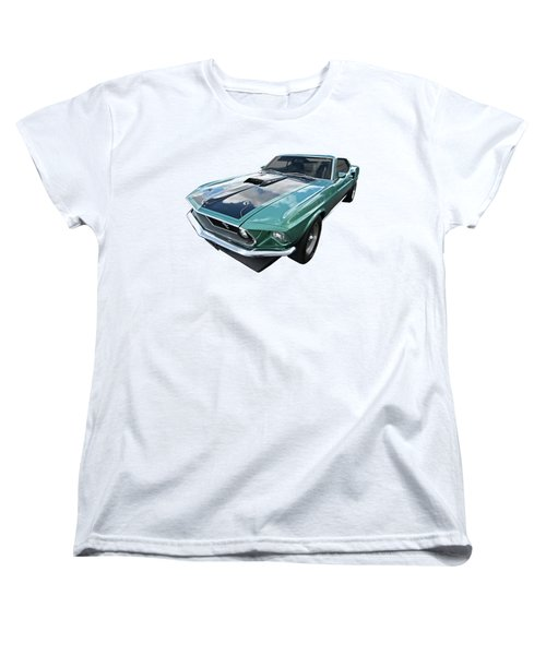 1969 Green 428 Mach 1 Cobra Jet Ford Mustang Women's T-Shirt (Standard Cut) by Gill Billington