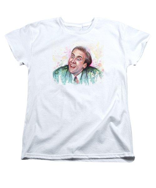 Nicolas Cage You Don't Say Watercolor Portrait Women's T-Shirt (Standard Cut) by Olga Shvartsur
