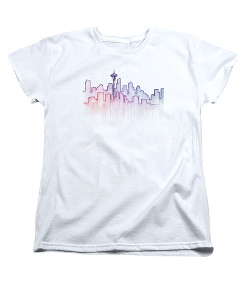 Women's T-Shirt featuring the painting Seattle Skyline Watercolor by Olga Shvartsur