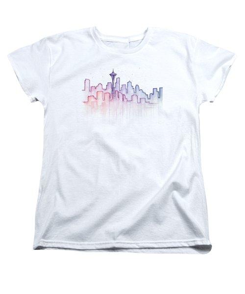 Seattle Skyline Watercolor Women's T-Shirt (Standard Cut) by Olga Shvartsur