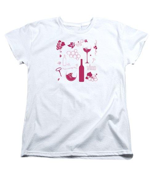 Wine Background Pattern Women's T-Shirt (Standard Cut) by Serena King