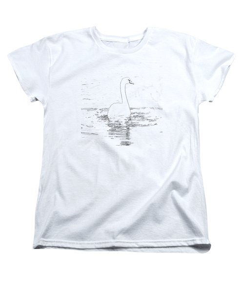 White Swan Swimming  Women's T-Shirt (Standard Cut) by Humorous Quotes