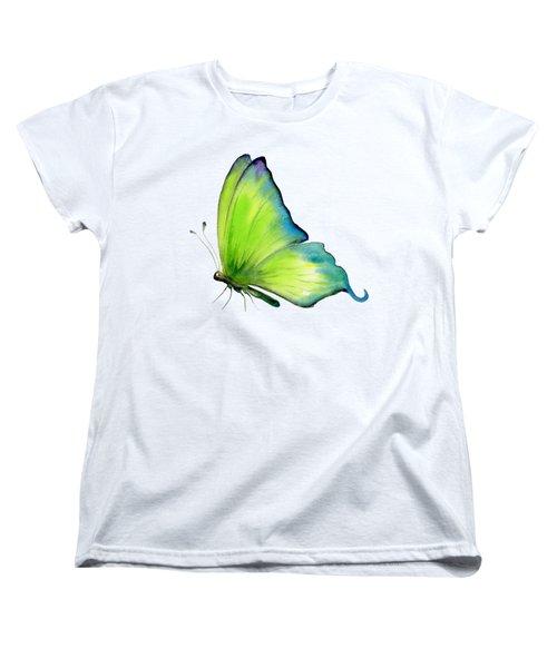 4 Skip Green Butterfly Women's T-Shirt (Standard Cut) by Amy Kirkpatrick