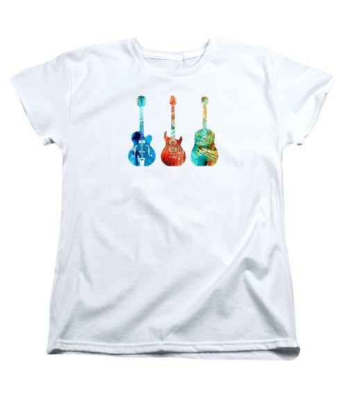 Abstract Guitars By Sharon Cummings Women's T-Shirt (Standard Cut) by Sharon Cummings