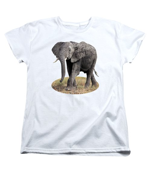 African Elephant Happy And Free Women's T-Shirt (Standard Cut) by Gill Billington