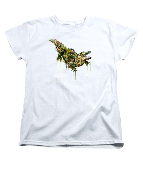 Alligator Watercolor Painting Women's T-Shirt (Standard Cut) by Marian Voicu