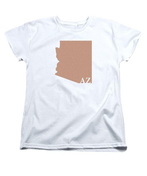 Arizona State Map With Text Of Constitution Women's T-Shirt (Standard Cut) by Design Turnpike