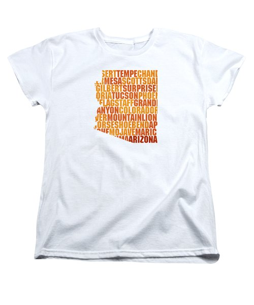 Arizona State Outline Word Map Women's T-Shirt (Standard Cut) by Design Turnpike