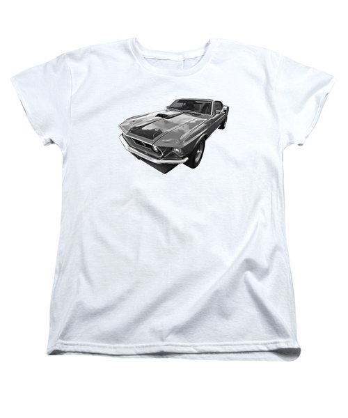 428 Cobra Jet Mach1 Ford Mustang 1969 In Black And White Women's T-Shirt (Standard Cut) by Gill Billington