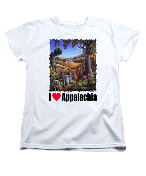 I Love Appalachia - Coon Gap Holler Country Farm Landscape 1 Women's T-Shirt (Standard Cut) by Walt Curlee