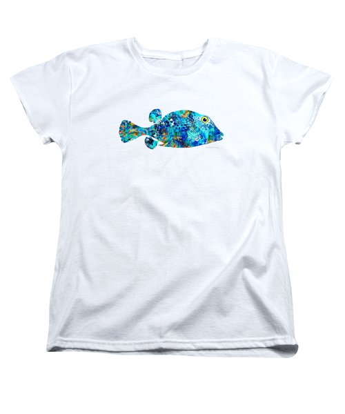 Blue Puffer Fish Art By Sharon Cummings Women's T-Shirt (Standard Cut) by Sharon Cummings