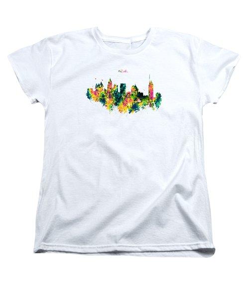 Atlanta Watercolor Skyline  Women's T-Shirt (Standard Cut) by Marian Voicu