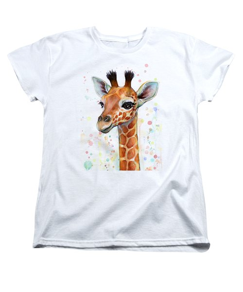 Baby Giraffe Watercolor  Women's T-Shirt (Standard Cut) by Olga Shvartsur