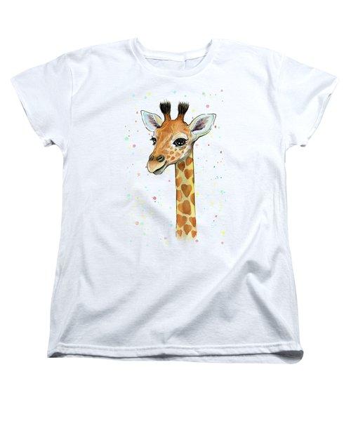 Baby Giraffe Watercolor With Heart Shaped Spots Women's T-Shirt (Standard Cut) by Olga Shvartsur
