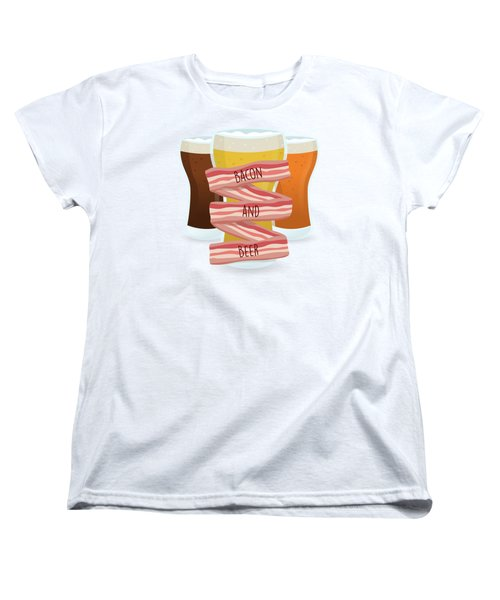 Bacon And Beer Women's T-Shirt (Standard Cut) by Renato Kolberg
