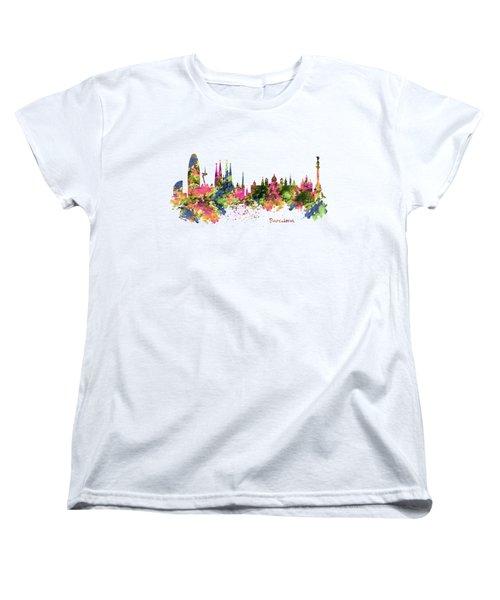 Barcelona Watercolor Skyline Women's T-Shirt (Standard Cut) by Marian Voicu