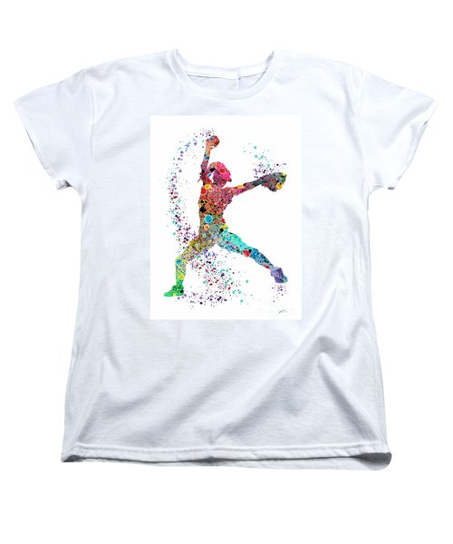 Baseball Softball Pitcher Watercolor Print Women's T-Shirt (Standard Cut) by Svetla Tancheva