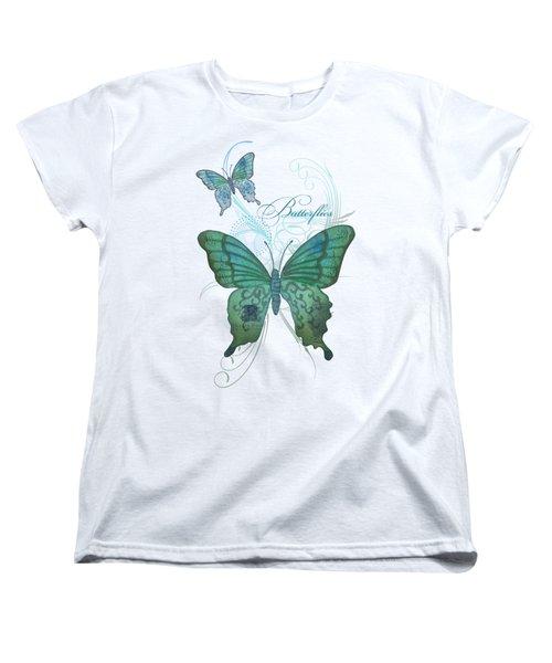 Beautiful Butterflies N Swirls Modern Style Women's T-Shirt (Standard Cut) by Audrey Jeanne Roberts