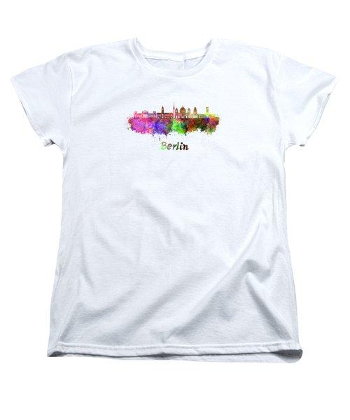 Berlin V2 Skyline In Watercolor Women's T-Shirt (Standard Cut) by Pablo Romero