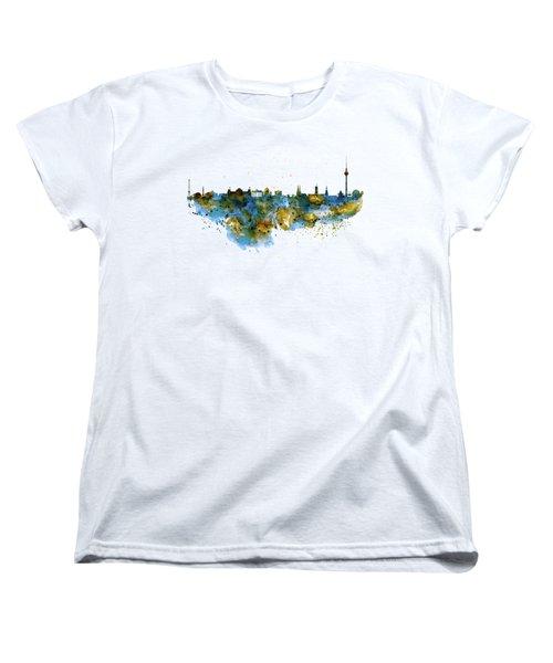 Berlin Watercolor Skyline Women's T-Shirt (Standard Cut) by Marian Voicu