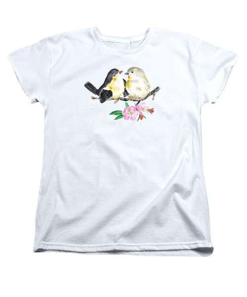 Birds And Apple Blossom Women's T-Shirt (Standard Cut) by Color Color