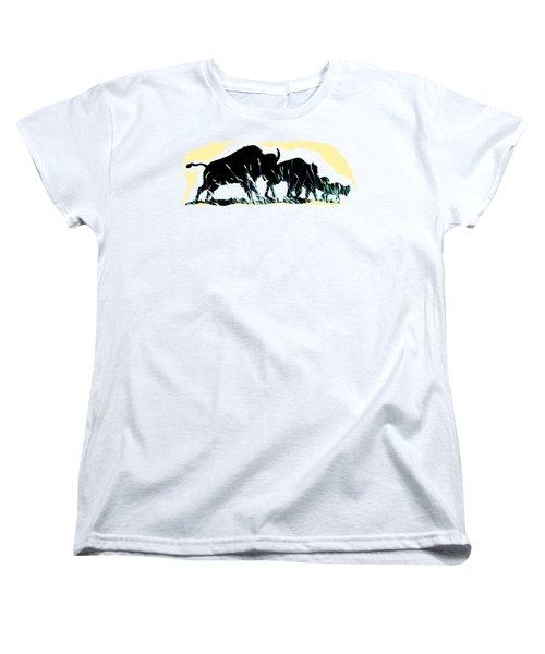 Bison Prairie Run Women's T-Shirt (Standard Cut) by Aliceann Carlton