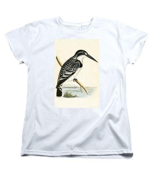 Black And White Kingfisher Women's T-Shirt (Standard Cut) by English School
