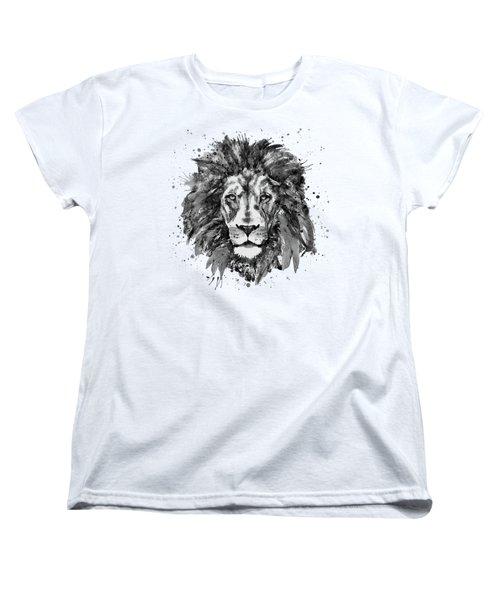 Black And White Lion Head  Women's T-Shirt (Standard Cut) by Marian Voicu