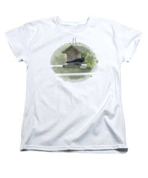 Bluejay Women's T-Shirt (Standard Cut) by Judy Hall-Folde