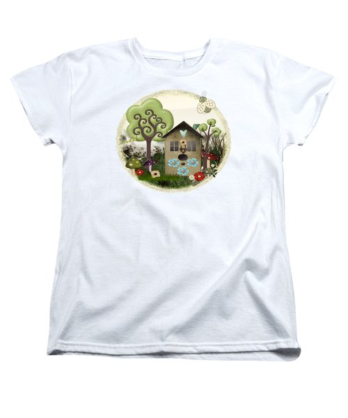Bonnie Memories Whimsical Mixed Media Women's T-Shirt (Standard Cut) by Sharon and Renee Lozen