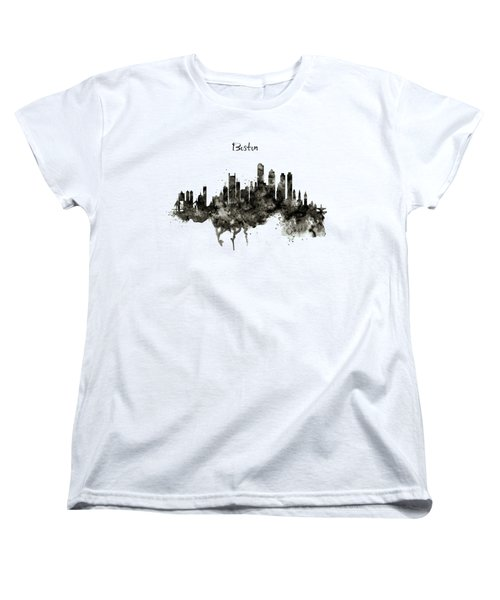 Boston Skyline Black And White Women's T-Shirt (Standard Cut) by Marian Voicu