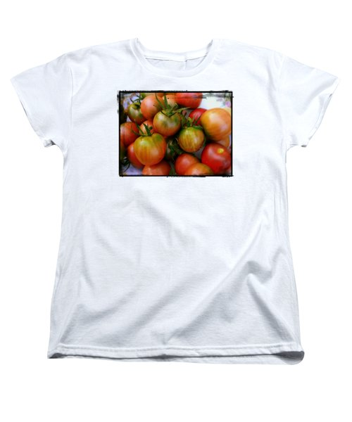 Bowl Of Heirloom Tomatoes Women's T-Shirt (Standard Cut) by Kathy Barney