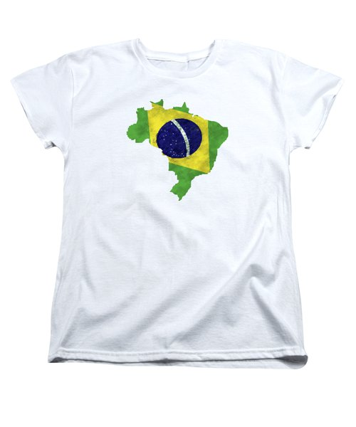 Brazil Map Art With Flag Design Women's T-Shirt (Standard Cut) by World Art Prints And Designs